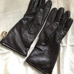 Dark Brown nappa leather Tory Burch gloves, size 7